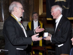 Dr John C Taylor OBE received the prestigious Harrison Medal from the Worshipful Company of Clockmakers