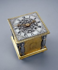 Ahasuerus Fromanteel and Edward East Cubic Full Grande Sonnerie Gild Table Clock, c 1652-5